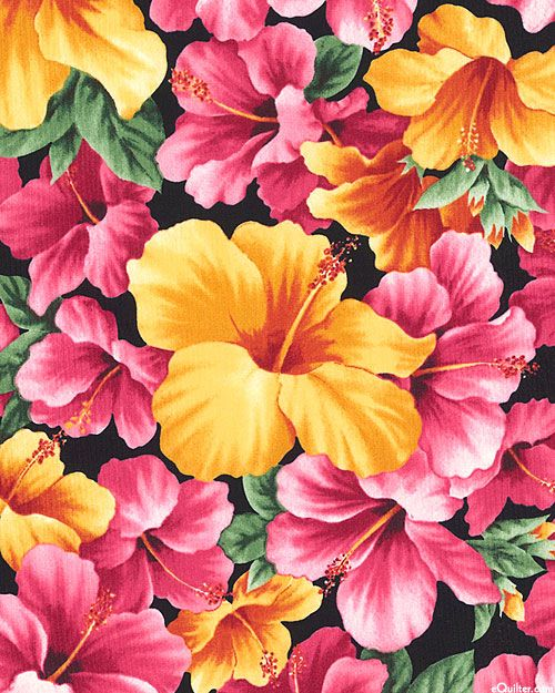 Hawaiian State Flower Big Hibiscus Quilt Fabrics From