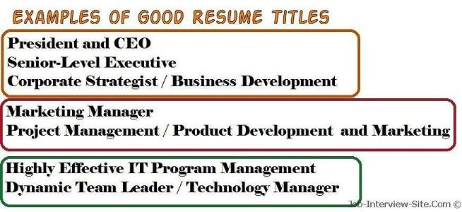 Good Resume Headlines Examples Good Titles For Resumes Good Resume