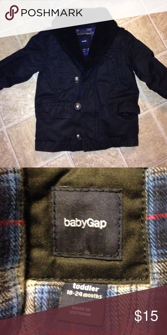 Winter coat by Baby Gap. Sz toddler 18-24 months. Winter coat by Baby Gap. Sz toddler 18-24 months.  Coat is polyvinyl acetate base fabric. 100% cotton. Upper lining: 100% cotton. Lower lining/sleeve lining: 100% nylon. Filling: 100% Polyester. Imitation fur collar. Button front placket over zipper. baby gap Jackets & Coats