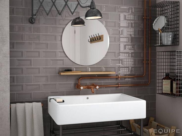 Evolution InMetro Dark Grey 7,5x15 : Industriale Badezimmer von Equipe Ceramicas