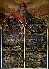 Anonyme, Moïse présentant les tables de la Loi XVIe siècle Huile sur bois Paris, Société de l'histoire du protestantisme français © Société de l'histoire du protestantisme français