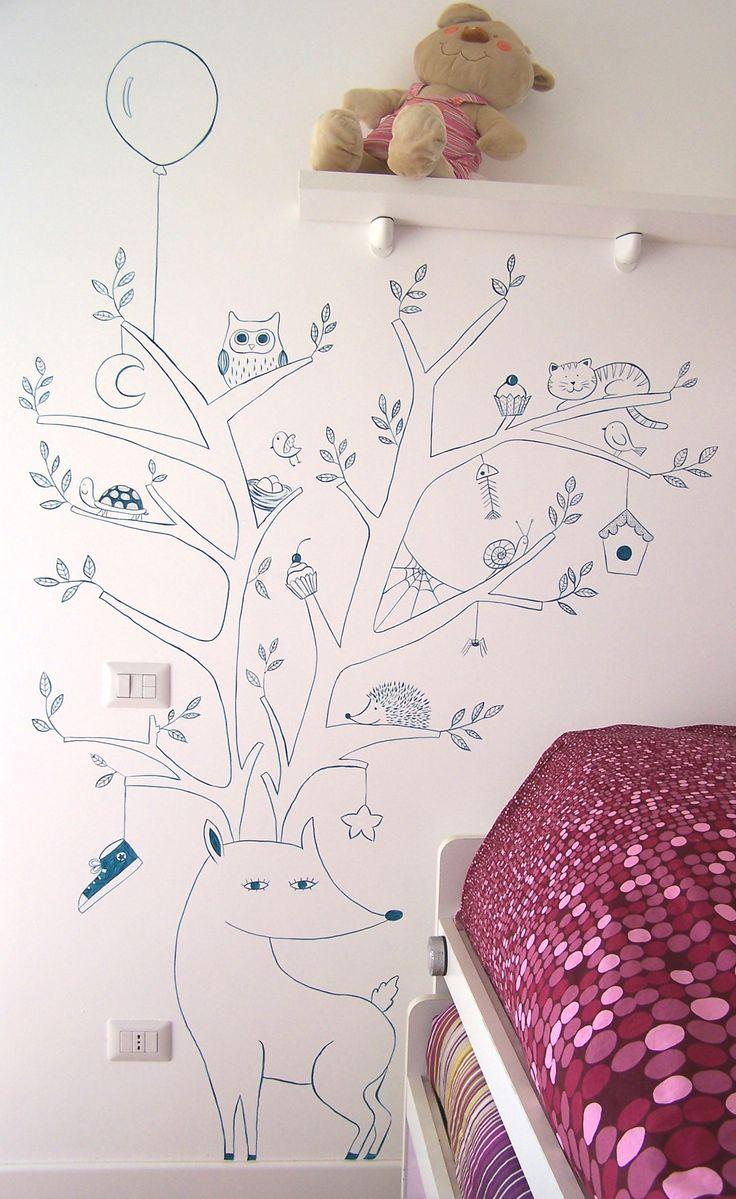 Decorazione a mano su parete - Hand decoration on wall.