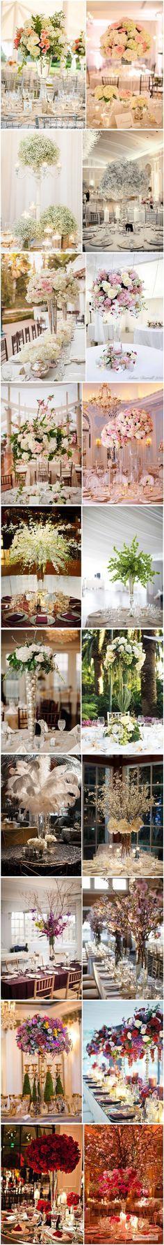 TOP 20 Tall wedding centerpiece ideas / http://www.deerpearlflowers.com/20-truly-amazing-tall-wedding-centerpiece-ideas/