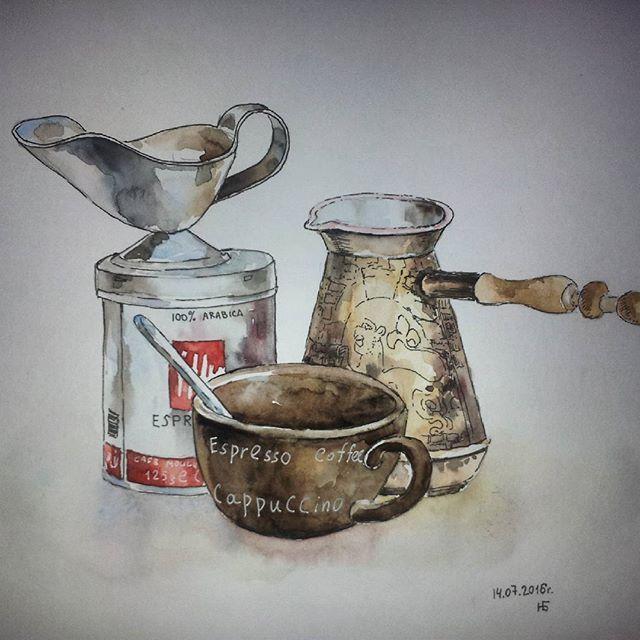 Coffee#sketch#watercolor#coffeepot#cap#mug#coffeebreak#coffe#кофе#чашка#кофеварка#goodmood# акварель#скетч