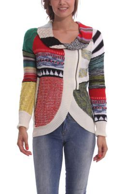 Desigual women's Same jumper, chunky knit with front zip fastening. The pattern is super original.