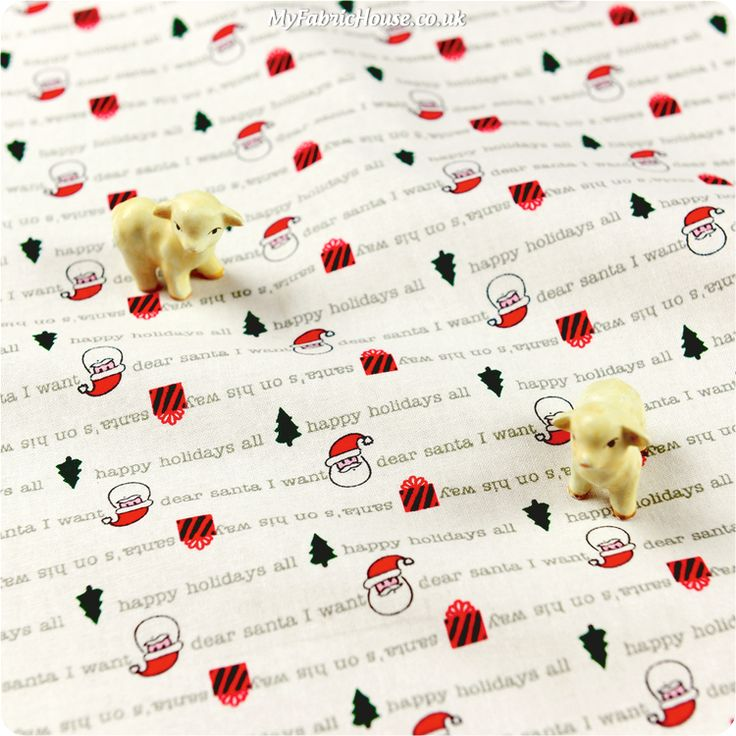 Christmas ♥ 53x49cm Santa & Writings White Cotton Fat Quarter Fabric £3.25