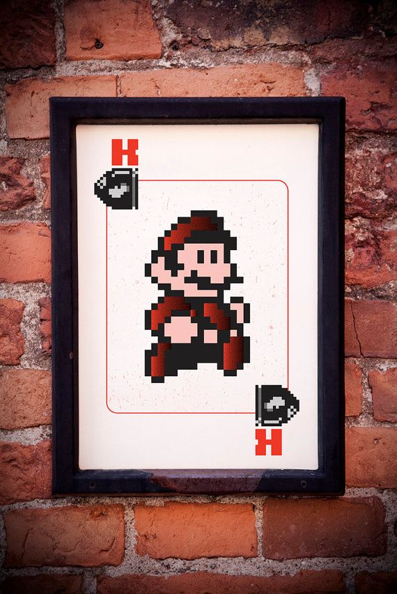 Nintendo's Mario 8-Bit 3-Color Screenprint #nintendo #mario #8bit #print