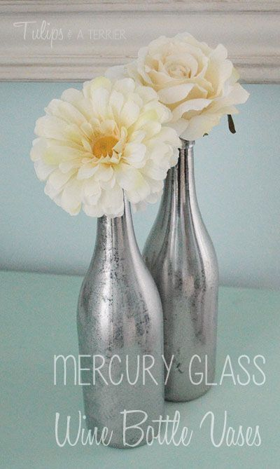 Mercury Glass Wine Bottle Vases - Tulips & A Terrier