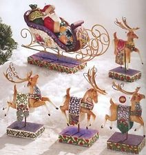 Jim Shore Christmas Santa Sleigh Delivering Joy w/ 4 Dash Away Reindeer NIB RARE