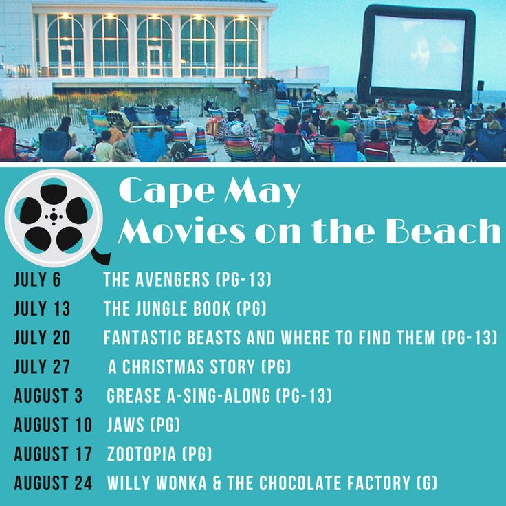 2017 Movies on the Beach in Cape May,NJ For more information go to DiscoverCapeMayNJ.com #CapeMay #FreeFamilyFun