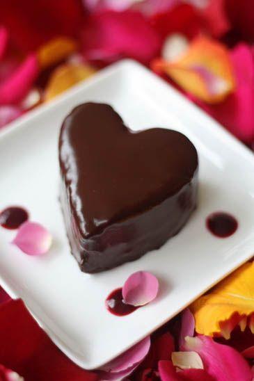 Heart Shaped Chocolate Raspberry Cream Cakes