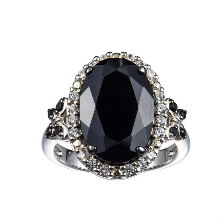 FINE JEWELRY Womens Black Spinel Sterling Silver Side Stone Ring