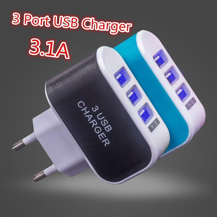 3 Puertos USB 2A de LA UE Plug Adaptador de Teléfono Móvil de Carga Del Muelle de la Pared cargador de celular para iphone 7 6 s 6 5S 4S ipad android samsung cargo