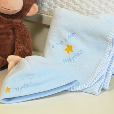 114 best baby shower gift ideas images on pinterest amazing gifts a star is born personalized fleece baby hat and blanket negle Images