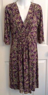 Boden Empire Waist Stretch Jersey Knit Dress UK 12R US 8R Purple Pink Yellow