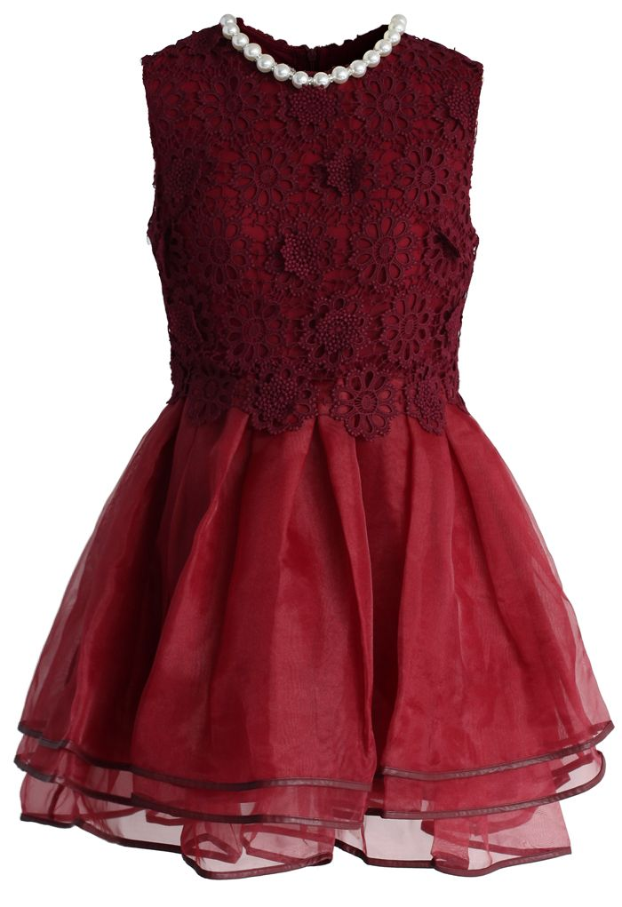 Luxury Pearly Petite Dress in Burgundy - Dress - Retro, Indie and Unique Fashion