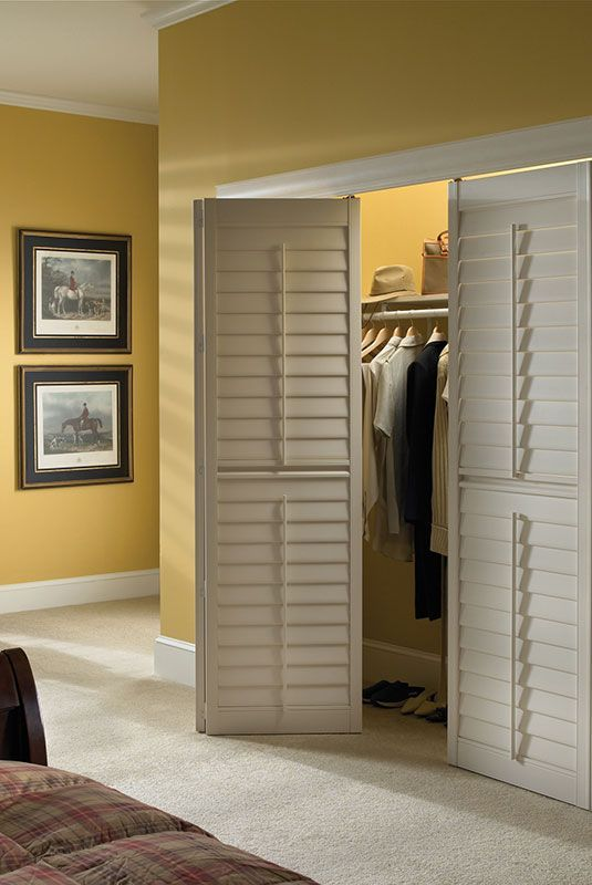 Image result for plantation shutters for a closet door with hinges