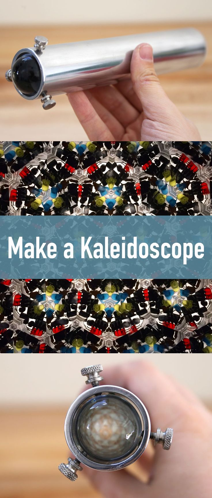 How to make a teleidoscope, which is basically a special type of kaleidoscope with a lens on the end.