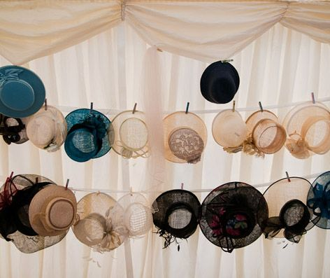 Peg wedding hats - display idea with the gold mini pegs i have