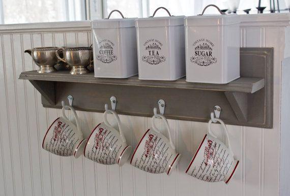 Rustic Coffee Cup Rack with Shelf Wall by FragrantLavenderHome