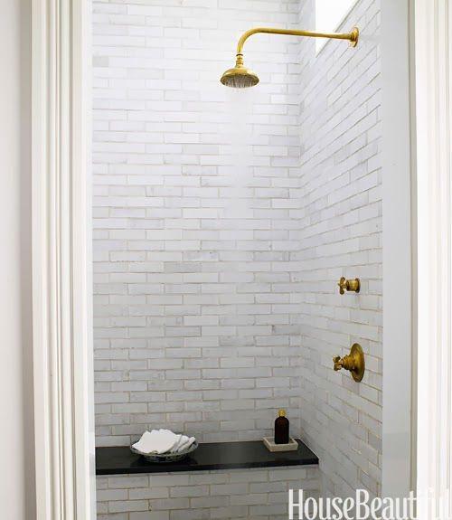 Master bath: Tile, Grove Brickworks; showerhead, Henry—Waterworks; waterworks.com. Vanity, custom by designer. Wall sconce, custom—The Urban Electric Co.; urbanelectricco.com. Rug, vintage—F.J. Hakimian; fjhakimian.com. Waste bin, vintage—BAC; gallerybac.com.