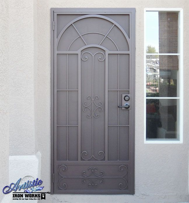 Wrought iron security screen door, custom made & powder coated
