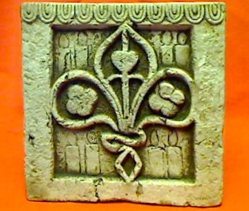 """Fleur-de-lis Planter - Made of a composite cement mixture. Looks antique, but isn't. Measures 7"""" square and 7"""" deep. *This item is heavy and would require extra postage, so you would need to either Call or Email us for a quote.  Order # 2834 .....$22."""