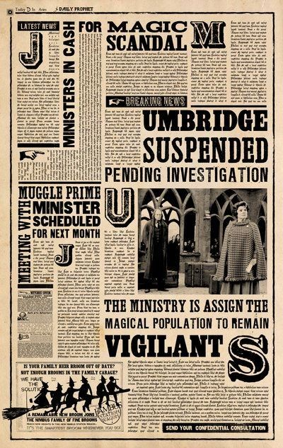 Daily Prophet: Umbridge suspended, pending investigation.