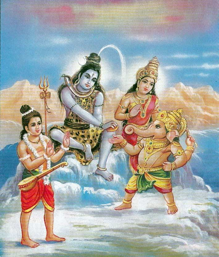 Lord Shiva and the Goddess Parvati giving the prized fruit to Lord Ganesha.