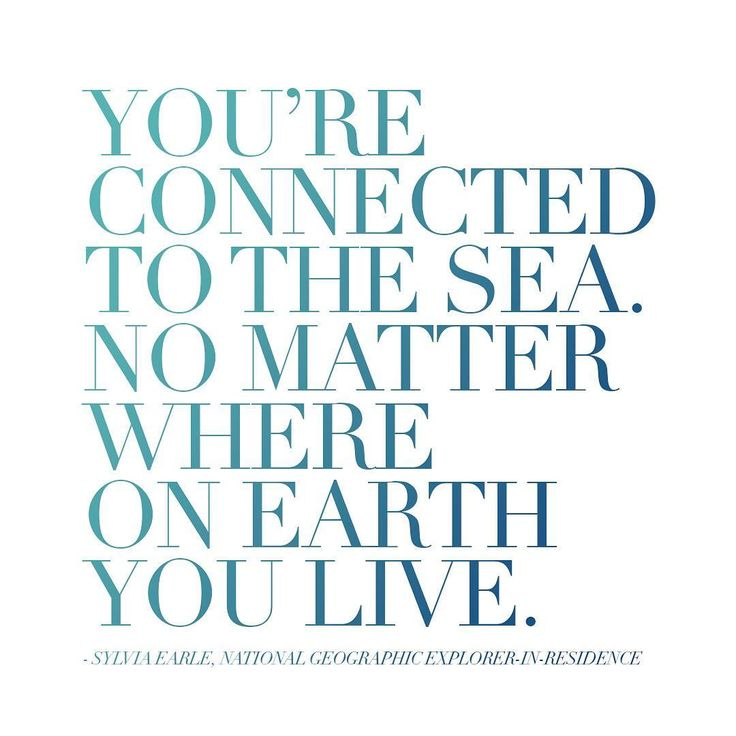 """""You're connected to the sea. No matter where on earth you live."" -Dr. Sylvia Earle #BlueMonday"""