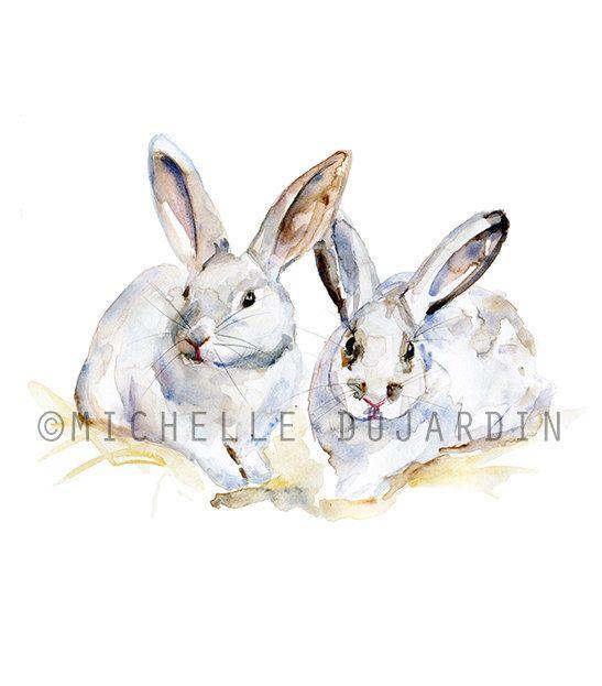 Konijn Aquarel - origineel dier schilderij - konijnen kunst -illustratie konijn - konijnen tekening - kinderkamer kunst konijntjes
