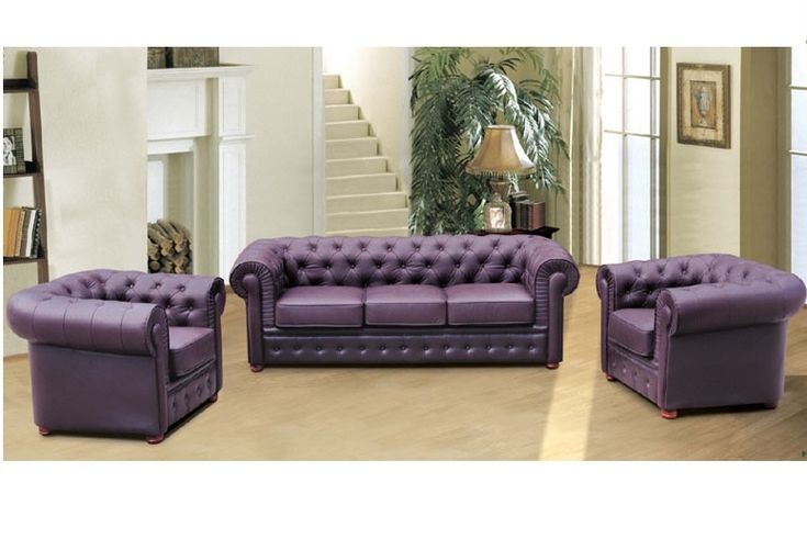 Luxury Purple Leather Sofa