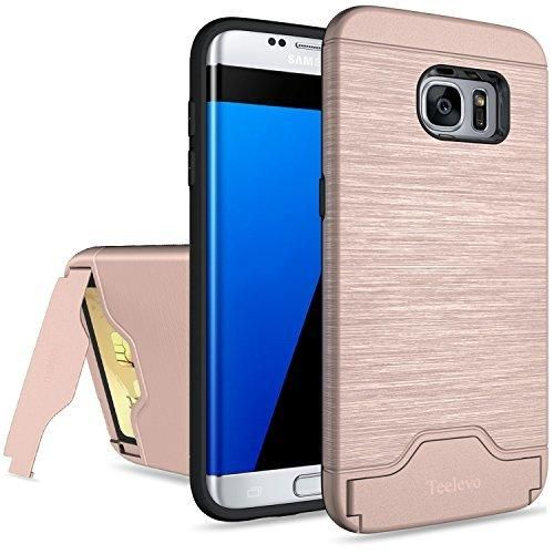 Galaxy S7 Edge Case Teelevo [Card Slot Holder] Dual Layer Advanced Shock Absorption Protective with Card Holder and Kickstand Wallet Case Heavy Duty Bumper for Samsung Galaxy S7 Edge - Rose Gold