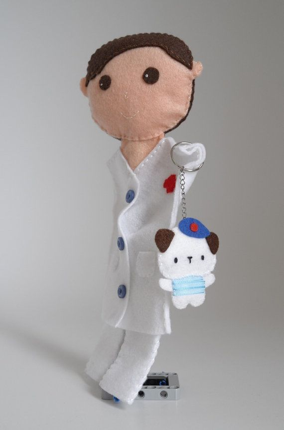 Doctor hand puppet and his lovely dog  doctor by FeltforAdults