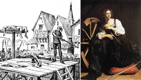Saint Catherine: condemned to death on a breaking wheel