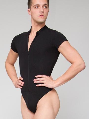 Zip Front Short Sleeved Leo with Built-in Thong Dance Belt - MENS
