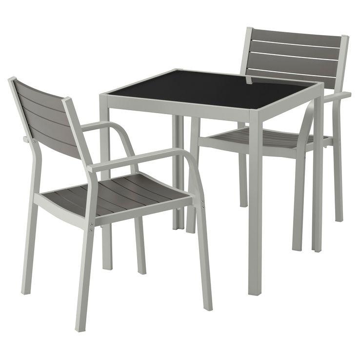 SJÄLLAND, Tisch Und 2 Armlehnstühle/außen, Glas Grau, Grau Jetzt Bestellen  Unter