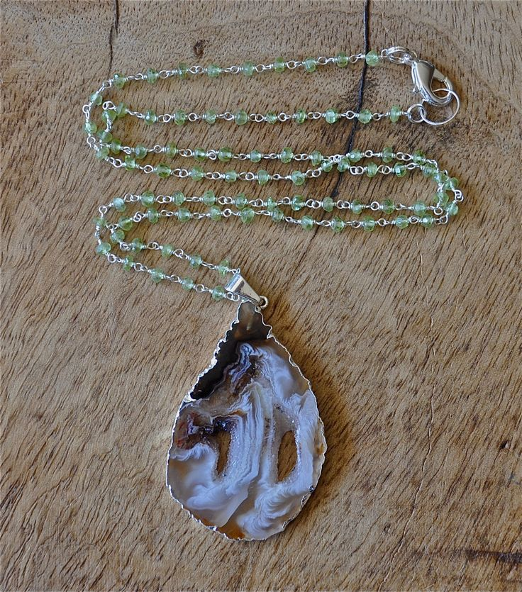 Peridot necklace, geode pendant, geode jewelry, geode slice pendant, august birthstone, fall jewelry trends, green, brown, white, silver by LolaBelleGems on Etsy