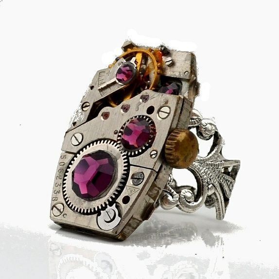 Steampunk ring - lilla