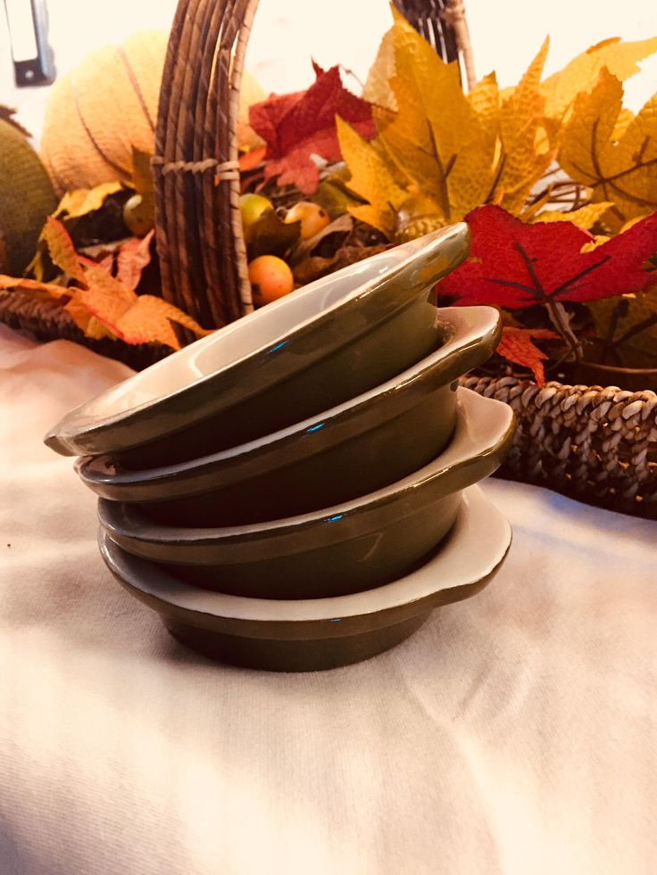 Hall Pottery Vintage Pottery Side Dishes Au Gratin Single Serving Dish Set Of 4 by missenpieces on Etsy
