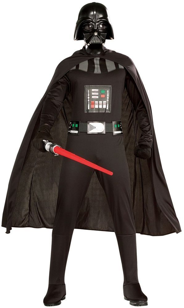 Darth Vader Costume Adult Star Wars Costume Darth Costume set Rubie's Costume XL Iconic full body black jumpsuit features printed design and attached boot tops Includes flowing black cape, screen print belt, and injection molded mask Standard size costume fits up to a 46-inch chest, 36-40-inch waist, and a 33-inch inseam X-large size costume fits up to a 50-inch chest, 42-46-inch waist, and a 34-inch inseam Officially licensed star wars merchandise from rubies costume co. Rubie's Cost...