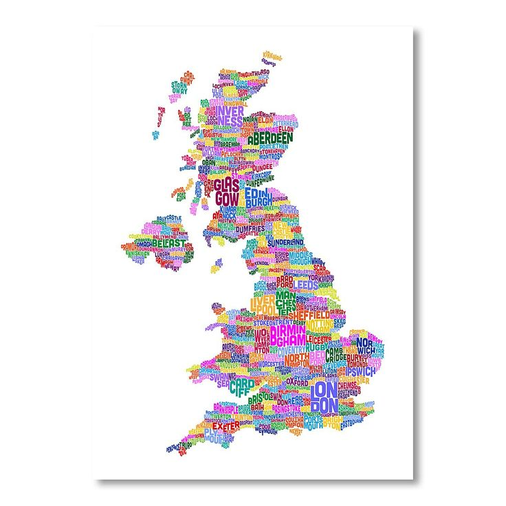 Americanflat UK Map Words 5 Print Art | Zanui.com.au