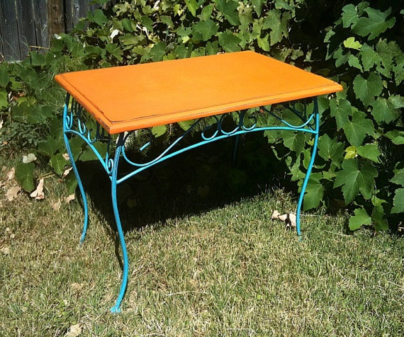 Orange Nightstand Side Table Accent Table with Turquoise by kylenb, $75.00