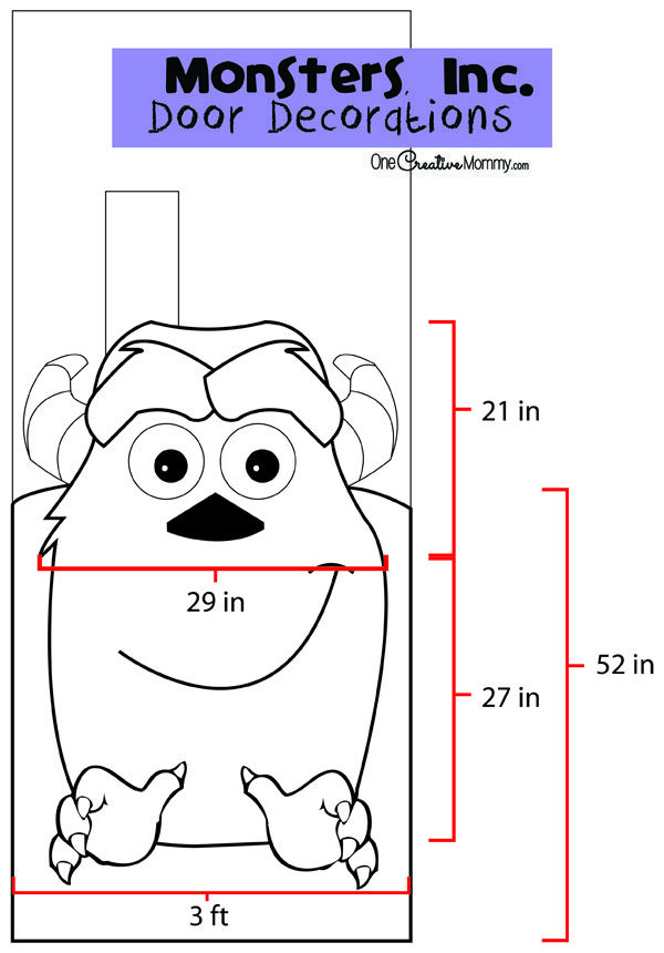 Monsters, Inc. Halloween Door Decorations {OneCreativeMommy.com} Instructions and Printables for Sully