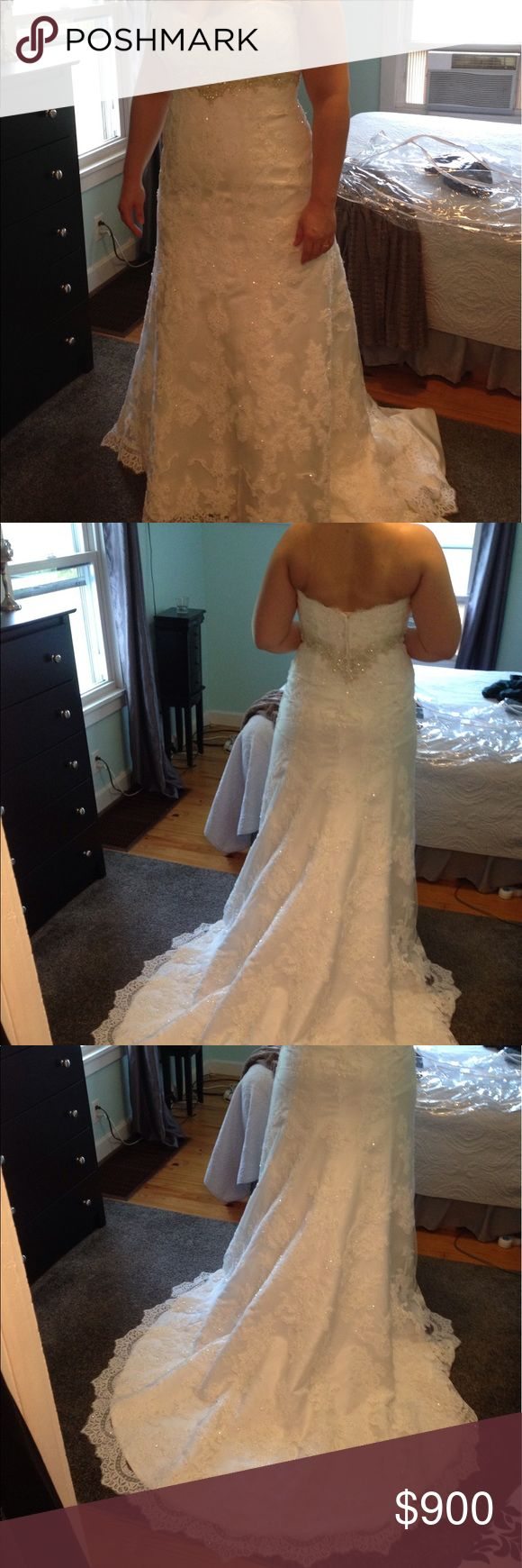 Casablanca 2072 Wedding Dress Casablanca 2072 wedding dress- never used! I bought this for my July 2017 wedding but found something I liked better. It is a size 16 (my usual dress size is a 14) and is in the color ivory/ivory/silver. It has stunning beaded lace and scalloped lace around the bottom. The retail price is $1300. casablanca Dresses Wedding