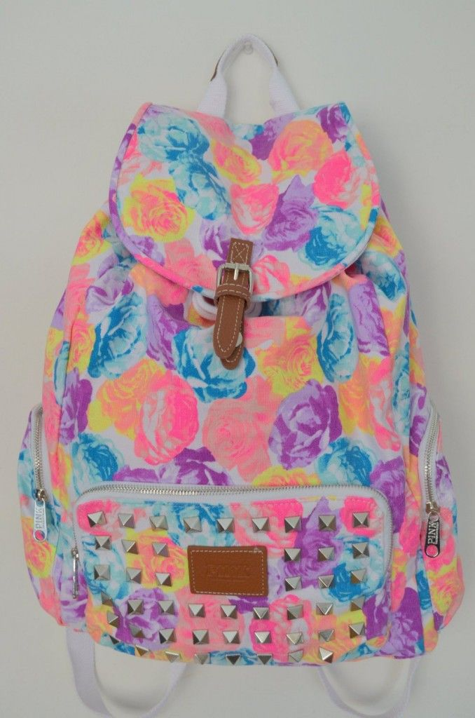 Gorgeous Victoria's Secret Pink Floral Backpack for Teen Girls