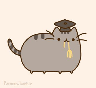 Pusheen the cat is a graduate wearing his black cap and tassel in his mouth! Description from pinterest.com. I searched for this on bing.com/images