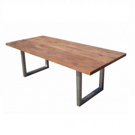 Table à dîner Tao en bois d'Acacia et pied en métal U - Kif-Kif Import
