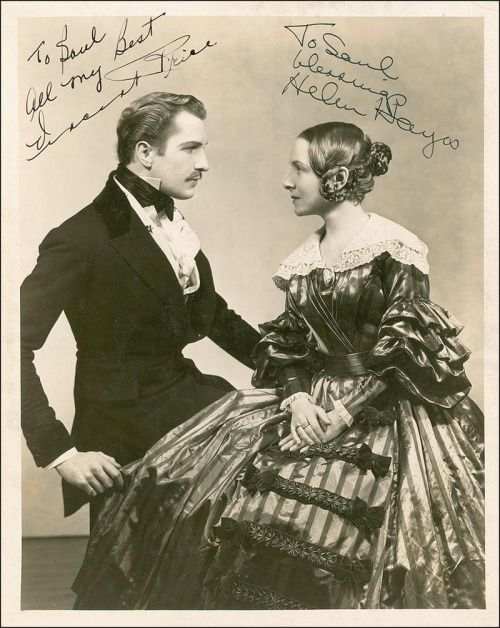 Vincent Price as Prince Albert and Helen Hayes as Queen Victoria in the 1935 Broadway production of Victoria Regina.