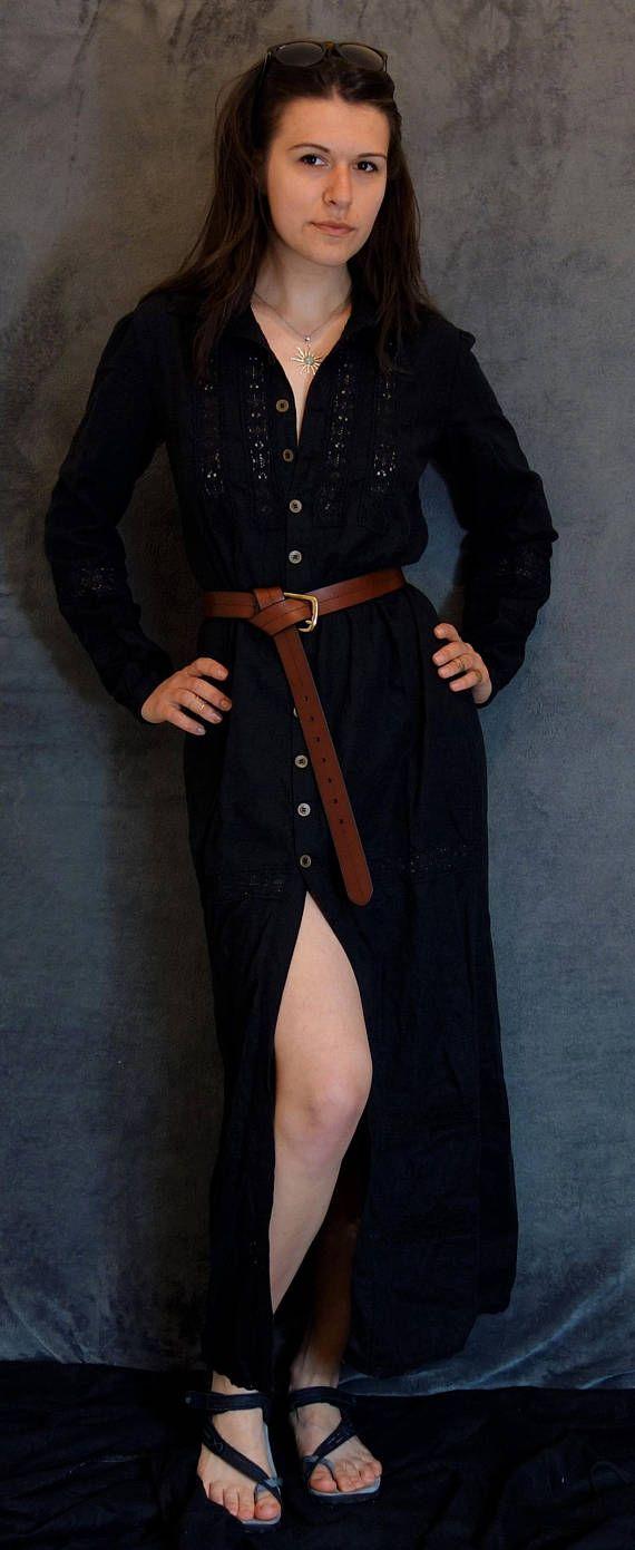 Black Linen/Cotton Dress Handmade Dress Natural Fabric